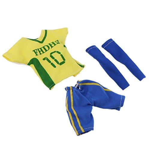 (D DOLITY Puppenkleidung Fußball Trikot Uniform & 1 Paar Socken Set Für 32 cm Barbie Ken Puppen - # 2 Gelb Blau)