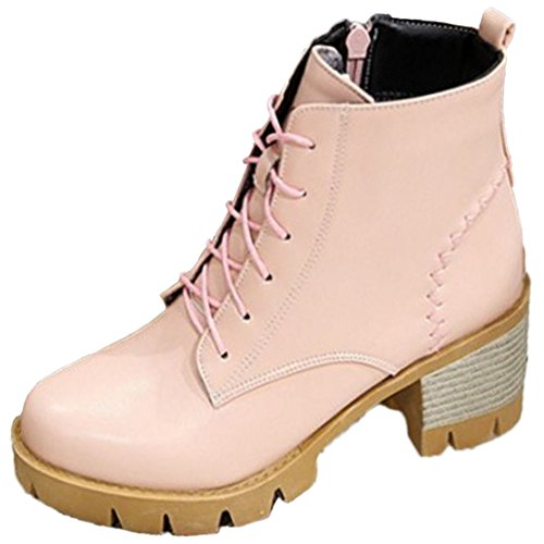 Botines Fermeture Eclair Femmes pink TAOFFEN Mode qzST6E