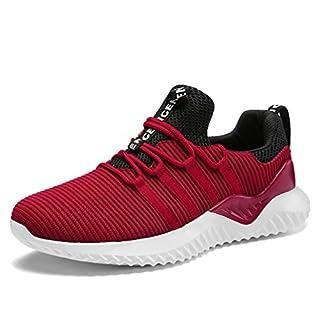 UBFEN Herren Schuhe Laufschuhe Turnschuhe Sportschuhe Freizeit Atmungsaktiv Fitness Gym Sneakers Casual EU 39 H Rot