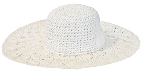 Mytem-Gear Breitkrempiger Damen Strohhut Sonnenhut mit breiter, gehäkelter Krempe (weiß)