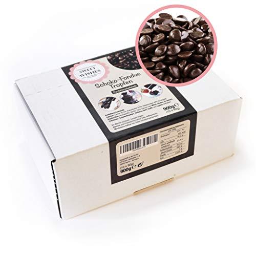 Sweet Wishes 900g Belgische Fondue-Schokolade Zartbitter-Drops - sanft schmelzender Hochgenuss feine Leckerei für Schoko-Brunnen - beste Qualität - 10 Portionsbeutel zu je 90 g einzeln verpackt