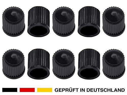 10x robuste Kunststoff Auto-Ventilkappen in Schwarz für Autoventil AV Schrader-Ventil KFZ, Auto, PKW, Mofa, Motorrad, Roller, LKW, Schubkarren, Fahrrad. Ideale Reifen-Ventile Ersatz-Kappen Deckel