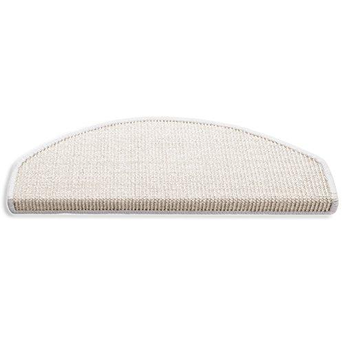 Naturfaser Sisal Stufenmatten | Ivory / Creme | Qualitätsprodukt aus Deutschland | kombinierbar mit Sisalläufer | 65x23,5 cm | halbrund | 15er Set
