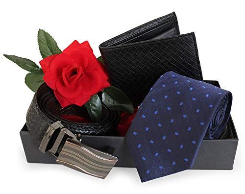 Ehemann Männer ihn Liebhaber Freund Combo Pack (Männer Krawatte, Ledergeldbörse, Ledergürtel (Dual Side) mit roter Rose), verpackt im Geschenkkarton (Halskette-ohrring-combo)