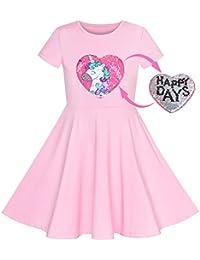 17cfeb47c5 Sunboree Mädchen Kleid Eule EIS Schmetterling Pailletten Täglich Kleid Gr.  ...
