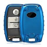 kwmobile Autoschlüssel Hülle für Kia - TPU Schutzhülle Schlüsselhülle Cover für Kia 3-Tasten Smartkey Autoschlüssel Hochglanz Blau