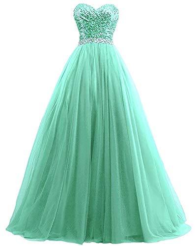 W&TT Damen Tüll Liebsten Ballkleid Tube Top Perlen Appliques Brautjungfern Kleider Prom Dress,Emerald,US16