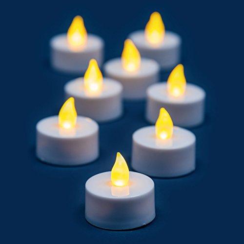 Pack 8 Velas TeaLight a pilas, LED luz cálida, efecto llama, telecomando on/off, de interior, velas LED, velas decorativas, luces de Navidad