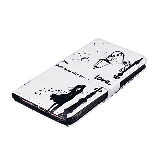 WYSTORE Étui pour Apple iPhone 7 PU Cuir Flip Folio Cover Case Housse avec Stand Support et Fente pour Carte et Arrière Coque de protection - Campanula plume Couple de pissenlit