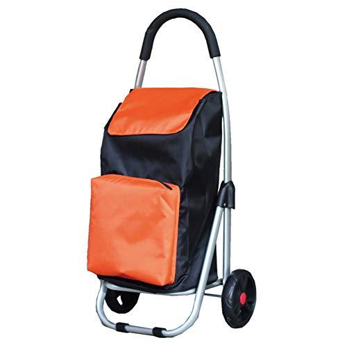 xinliche Einkaufswagen kaufen Lebensmittelwagen kleinen Zugwagen Faltenwagen Aluminiumlegierung tragbaren Handgepäck Anhänger, 2 Farben (Farbe : Orange)