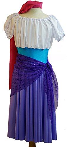 CL COSTUMES Tanz-Solo-Bühne-Panto-Welt Buch Tag der Buckel of Notre-Dame Esmeralda Gypsy MÄDCHEN Damenmode Kleid Kostüm - Von Größen 38-42 - Wie abgebildet, Ladies: 10