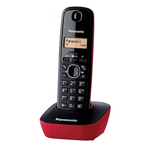 Panasonic KX-TG1611SPR - Teléfono Fijo Inalámbrico Digital, Negro con Rojo