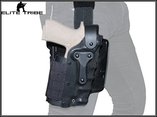 Armee Militär Kleidung Airsoft Paintball Waffenholster Kampf Safriland Style 3280 Modle Taille Bein Pistole Holster schwarz (Kleidung Armee Militär)