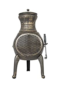 Bronze Squat 100% Cast Iron Chiminea Chimenea Patio Heater