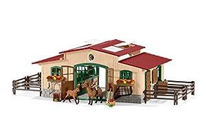 Schleich 42195 - Pferdestall mit Pferden und Zubehör, mehrfarbig