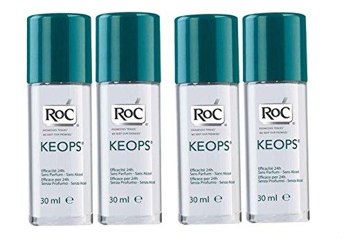 RoC - Keops Déodorant à bille - Sans parfum - Sans alcool - Lot de 4 x 30 ml
