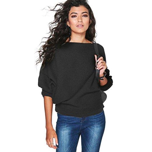 Oversized Rippe Knitted Batwing Baggy Jumper Top Strickjacken Slim Sweatshirt Mantel Tops (Schwarz, S) (Schmeichelhaft Halloween Kostüme)