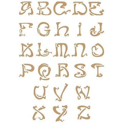 Stencil Deco Abecedario 029. Medidas aproximadas: Medida exterior del stencil: 20 x 30 cm Medida del diseño: 2 x 3 cm Medida de la M mayúscula: 2 x 3