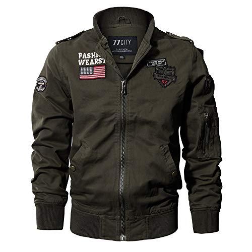 OSYARD Nouveaux Homme Printemps Automne Coton Militaire Veste Voler Bomber Blousons Outdoor Manteaux Multi-Poche Mens Cotton Lightweight Jacket (Armée Verte,2XL)