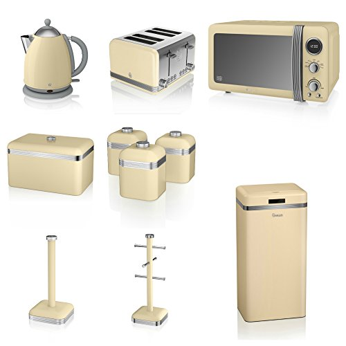 Swan Cream Kitchen Appliance Retro Set Of 10 - Retro Digital Microwave, 20 Litre, 800 Watt, 1.7 Litre Jug Kettle & Retro Stylish 4 Slice Toaster Retro Breadbin, 3 Canisters, Towel Pole, 6 Mug Tree And Sensor Rubbish Bin Set