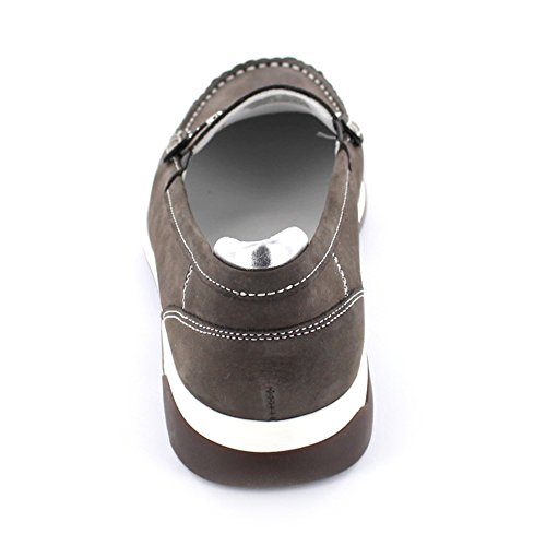 Donne Mocassino ARA grigio / argento in pelle larghezza-H in formato 37-41 Street Silber