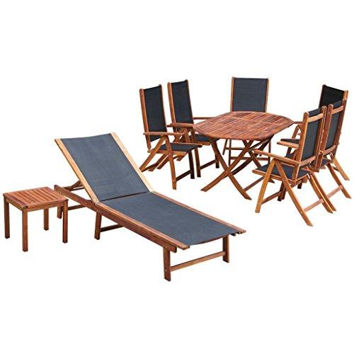 SSITG 9-tlg. Sitzgruppe Essgruppe Sonnenliege Gartenmöbel Garnitur Akazienholz
