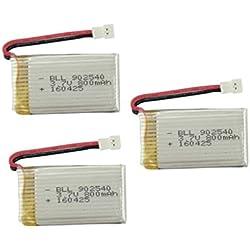 Fytoo 3pcs 3.7V 800mah Litio Batería para SYMA X5 X5C X5SW X5C-1 X5SW Cheerson CX-30W UDI U45 SS40 FQ36 T32 T5W H42 RC Quadcopter Drone