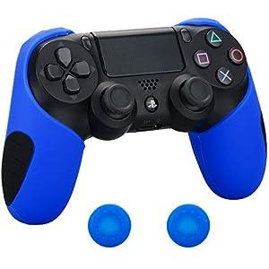 Pandaren® silikon dickere gälfte skin hülle Schutzhülle für PS4 controller (blau) x 1 + thumb grips aufsätze x 2