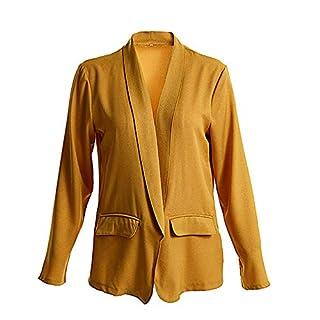iHENGH Damen Herbst Winter Jacke Warm Bequem Mantel Lässig Mode Frauen Womens Solid Open Front Cardigan Langarm Blazer Freizeitjacke Slim Coat (Gelb,3XL)