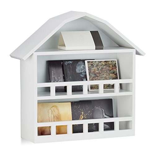 Relaxdays Wandregal Haus mit 3 Fächern, Setzkasten zur Dekoration, matt lackiertes Häuschen, HxBxT 50x52x15 cm, weiß