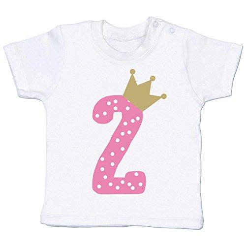 Shirtracer Geburtstag Baby - 2. Geburtstag Krone Mädchen - 18-24 Monate - Weiß - BZ02 - Babyshirt Kurzarm