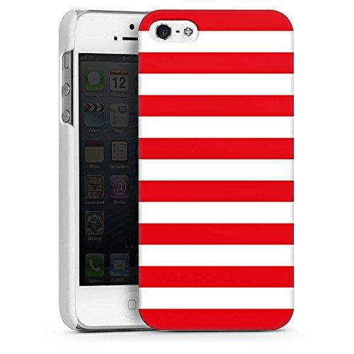 Apple iPhone 5 Housse Étui Protection Coque Bandes Marin Maritime CasDur blanc