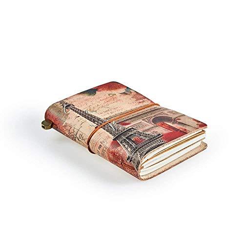 """Carnet de notes, """"FRANCE"""" Carnet de voyage cuir pour homme et femme, L'écriture Rechargeable et Carnet en Cuir, 13,5cm x 10,5cm"""