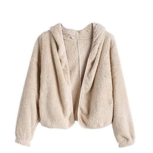 XNBZW Damen Langarm Warmes Sweatshirt Lose Outwear Strickjacken(Beige,L) (Georgette-bluse Ärmelloses)