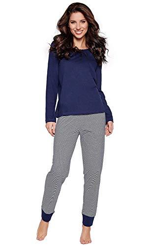 Navy Baumwolle Pyjama (Moonline moderner und bequemer Damen Pyjama, aus 100% weicher Baumwolle, Navy-Bündchenhose, Gr. S (36/38))