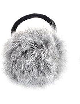 Goma para el pelo, piel de conejo sintética, estilo coreano, color negro gris gris