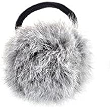 Goma para el pelo, piel de conejo sintética, estilo coreano, color negro gris