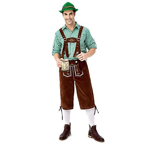 Kostüm Player - Chejarity Herren Trachtenhose Kniebundhose 2 TLG:Kariert Trachtenbluse,Trägerhose Oktoberfest Bierfest Kostüm Bestickt Bayerische Bar Set Halloween Traditionelle Kleidung Lederhose (XL, Grün)