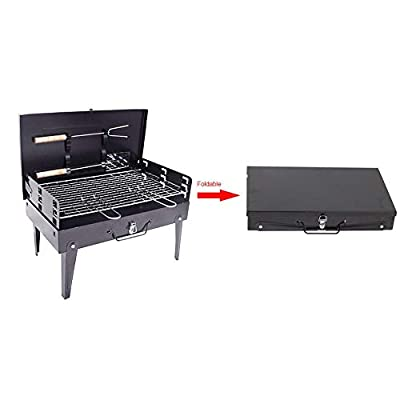 favourall Campinggrill Picknickgrill Holzkohlegrill Outdoor Tragbaren BBQ Grill, Für Outdoor Garten Camping Party Beach Barbecue, 26,5 X 21 X 47 cm