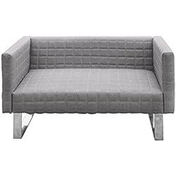 Furniture 247 - Divano a 2 posti con raffinati piedi in metallo, grigio