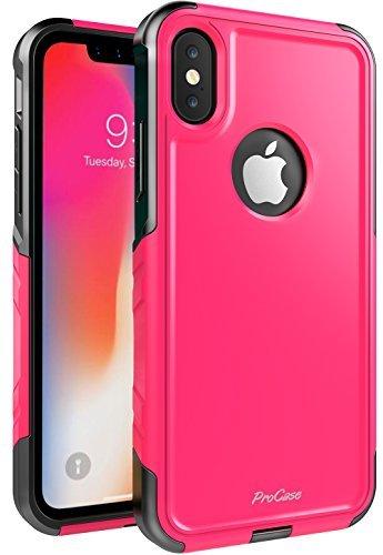 ProCase Schuzhülle für iPhone XS/X, Stoßfest Full-Body Robustes Case Heavy Duty Rundum Schutzhülle Cover mit eingebautem Displayschutz für Apple iPhone XS (2018) / X(2017) - Rosa -