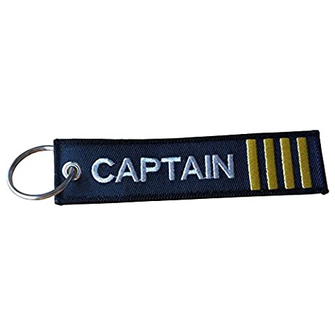 Captain Embroidered Luggage Tag | Keychain | Flight Bag Tag | 4 Gold Stripes