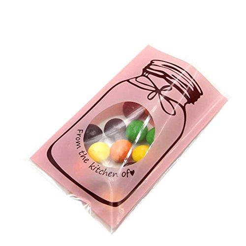 100x Chytaii Sac d'Emballage Pochette de Gâteaux Pâtisseries Transparent en Plastique Auto-Adhésif OPP Imperméable Décoration Bonbonnière