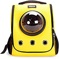 LEERAIN Mascota Mochila CáPsula Espacial Gato Bolso Perrito Bolso Perro PortáTil Cartera Amarillo PU Suave Transparente Respirable Viajar Al Aire Libre 36 * 35 * 26.5cm