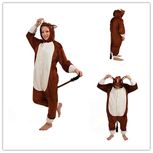 Unisex Kuh Pferd Kleiner Esel Onesie Kigurumi Pyjama Karneval Kostüm Maskenkostüm Kapuzenpulli Schlafanzüge Braun Pferd, M(Height - Kuh Pferd Kostüm