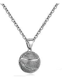 4d0696d24e27 Blisfille Collar Hombre Poker Collar de Diseño de Baloncesto Joyería  Colgantes Acero Inoxidable Mujer Circonita Oro