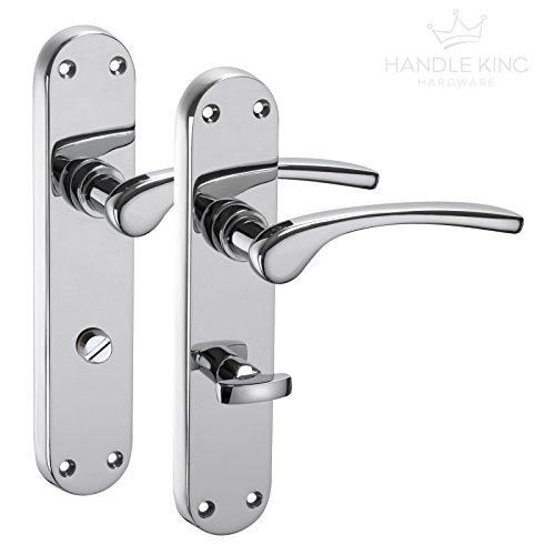 Cromo pulido - manilla para puerta con manilla con placa para baño