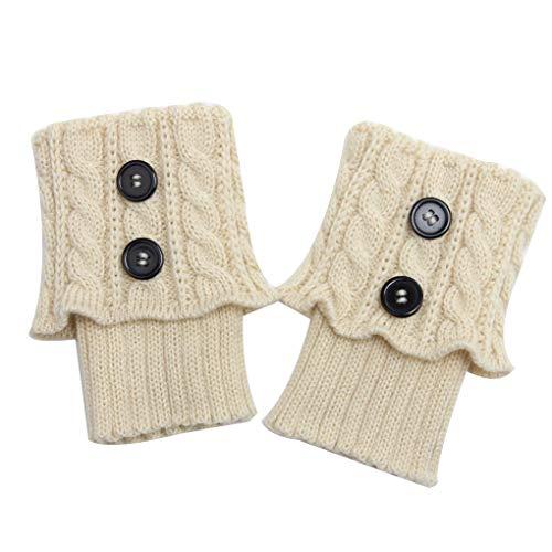 Minzhi 1 Paar Damen Short-Knopf Crochet Beinlinge Winter Herbst Knit Stiefel Stulpen Socken Stiefelwärmer Stiefel Toppers Gaiters -