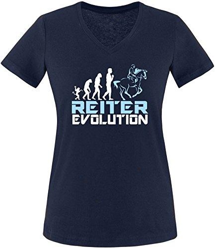 EZYshirt® Reiter Evolution Damen V-Neck T-Shirt Navy/Weiß/Hellbl