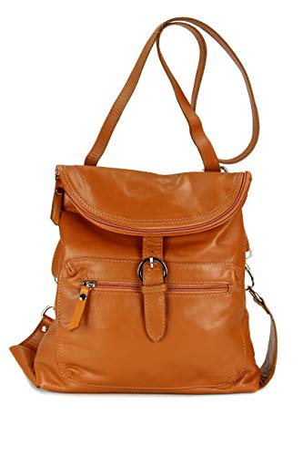 Belli ital. Echt Leder Rucksack Backpack London Handtasche Umhängetasche Rucksacktasche cognac - 28x26x10 cm (B x H x T)